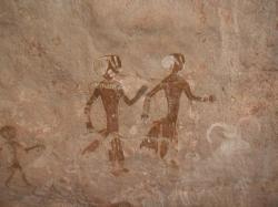 Peinture rupestre Tassili'n Ajjers famille et animaux