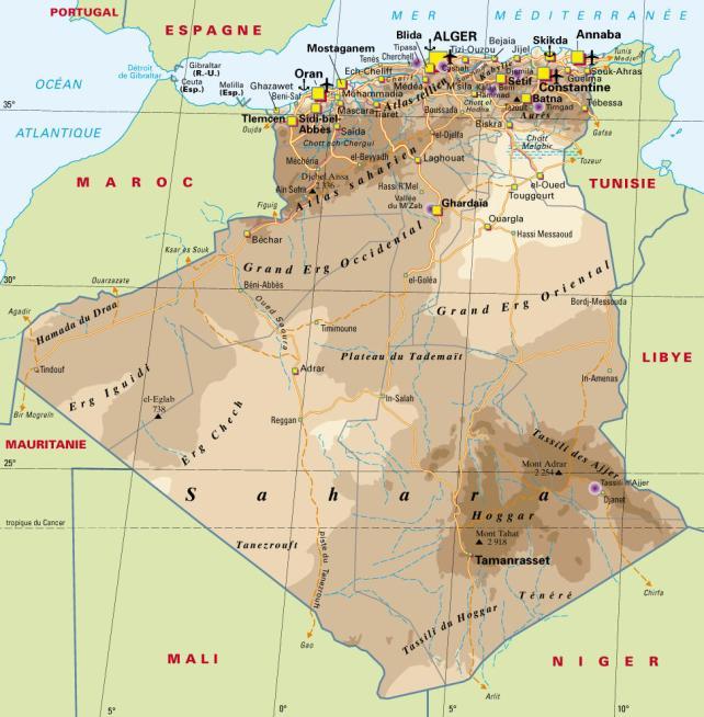 Carte Algérie Relief