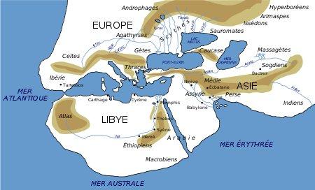 Carte Hérodote Vème siècle av JC