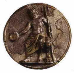 Médaillon en argent doré représentant Poseïdon (Souma el Khroub)