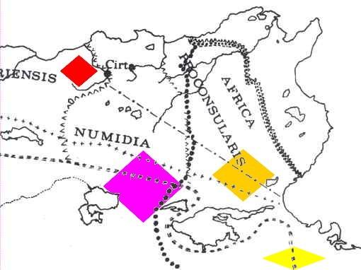 En rouge les Maures de Ptolémée ; en violet les Musulames ; en orange les Cinithiens et en jaune les Garamantes